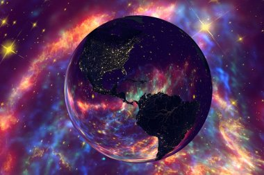 Americas from space in night on surrealistic background