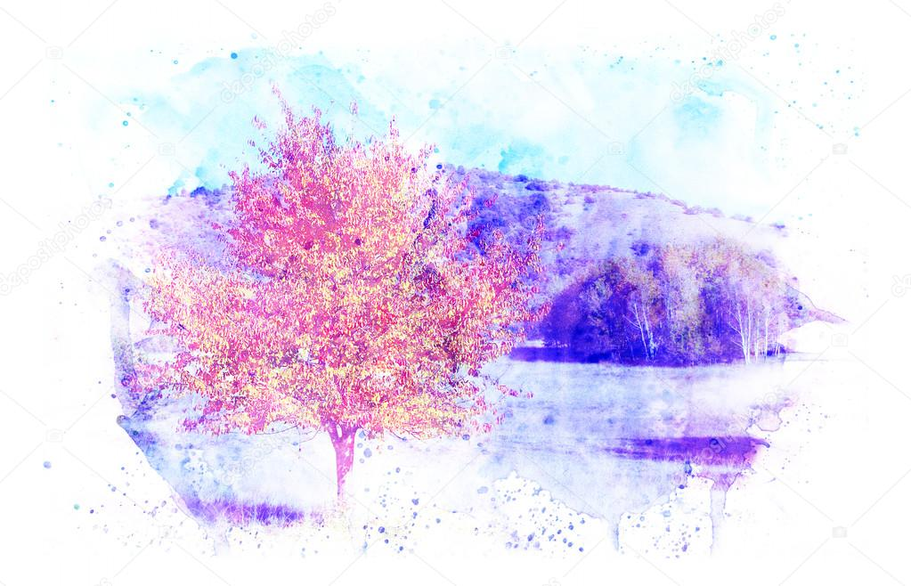 Autumn landscape with a background in watercolor.