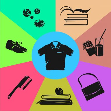 Sport wear, nutrition and accessories. Colored sections.