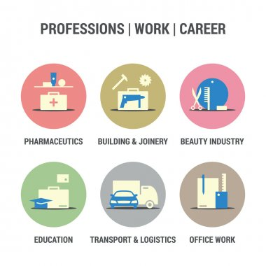 Icons set of professions, work, career area. Colored.