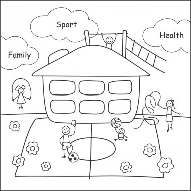 Family stories: sport and health. Linear, black and white.