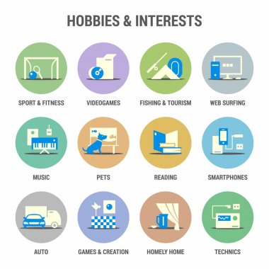 Icons set of hobbies and interests. Flat. Colorized.