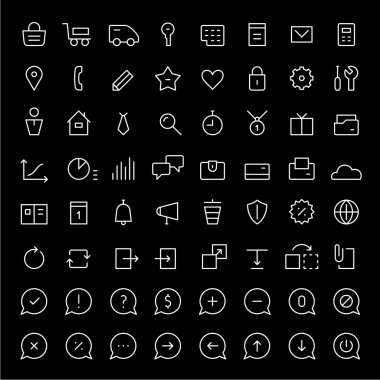 Icons set for web services. Thin lines. White.