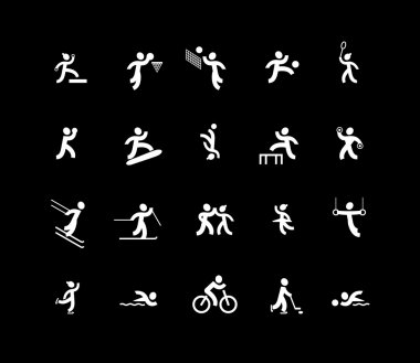 Sports and dancing icons. White color.