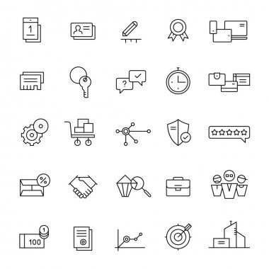 Icons for landing pages and online shops. Thin lines.
