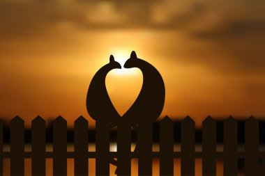Cats in love silhouette on the fence in sunset. EPS vector illustration.