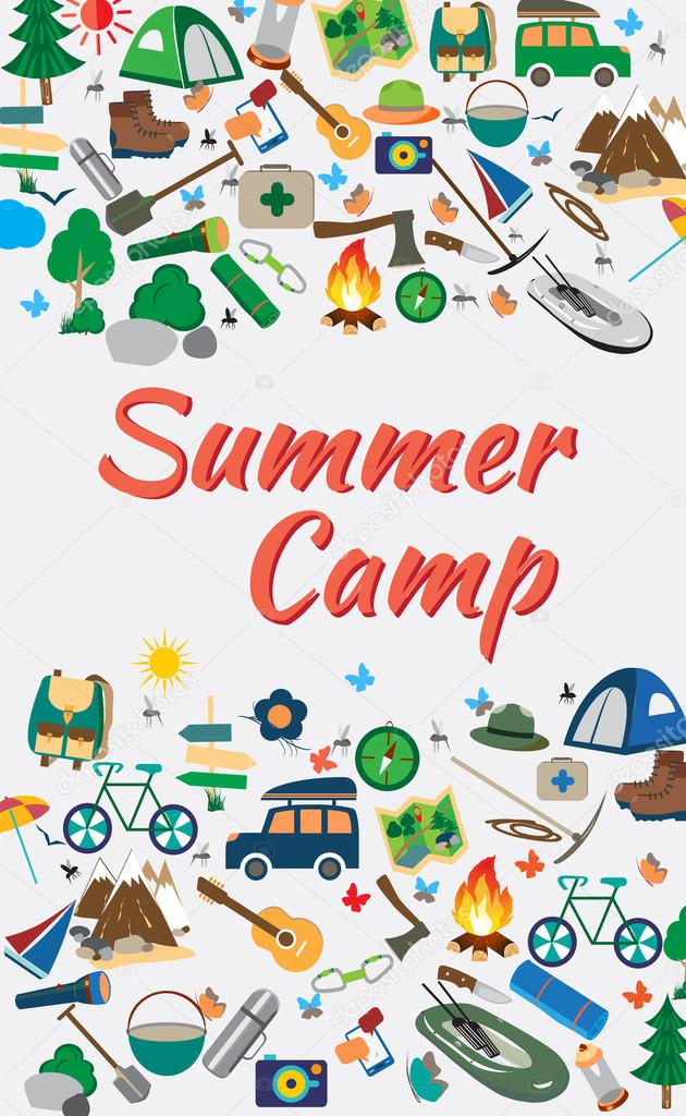 Vector illustration of icons on a theme: the summer camp.