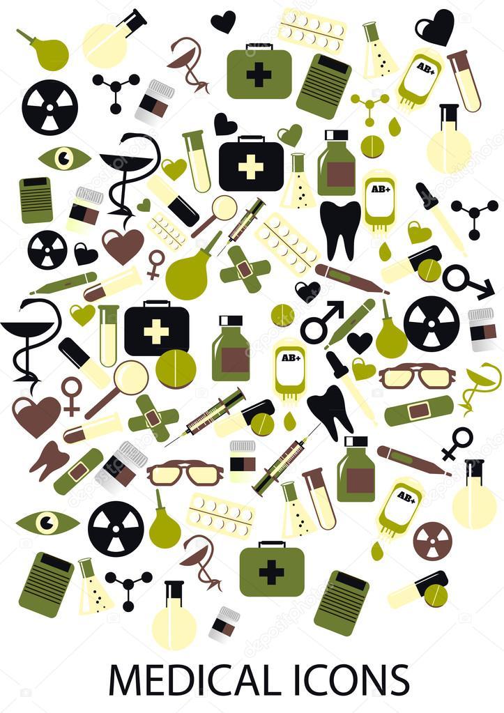 Médicos iconos sobre un fondo blanco. Ilustración de vector ...