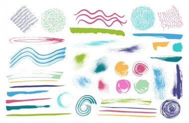 Set of brushes ink design elements