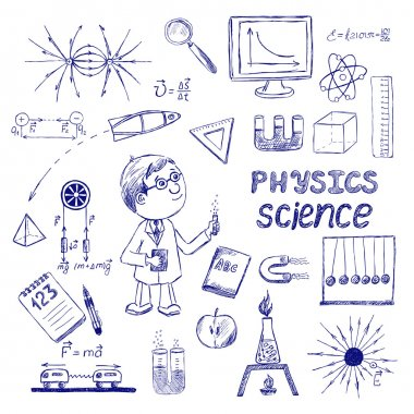 Physics. Science icons set