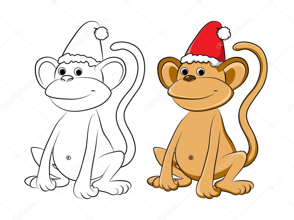 Mono de dibujos animados, símbolo del año nuevo — Archivo Imágenes ...