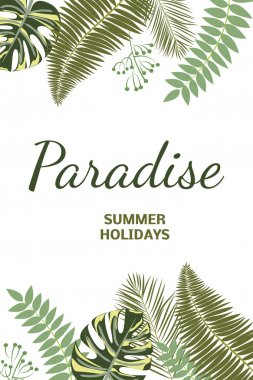 Paradise. Summer holidays. Tropical leaves
