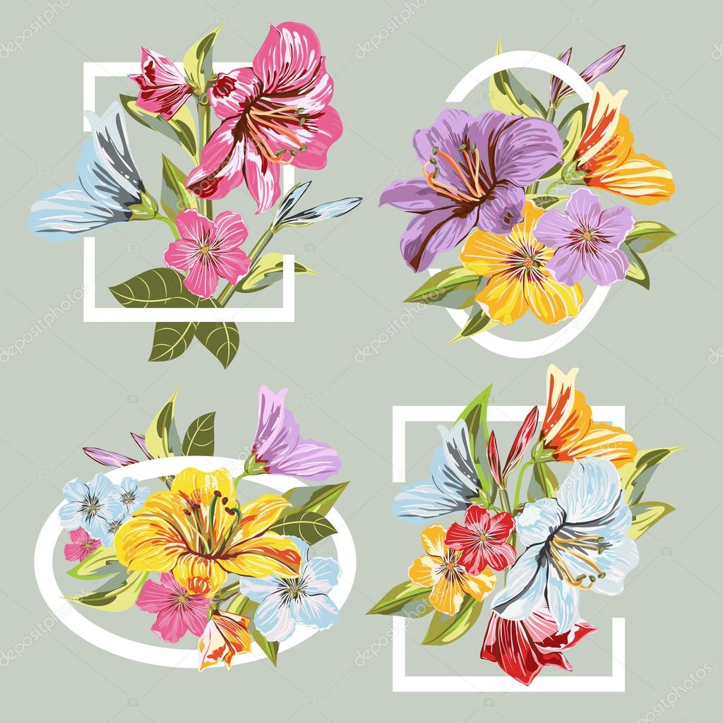 collection frame of Flowers Bouquet — Stock Vector © phoenix_olga ...