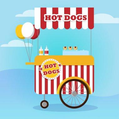 Street food vector - hot dog truck