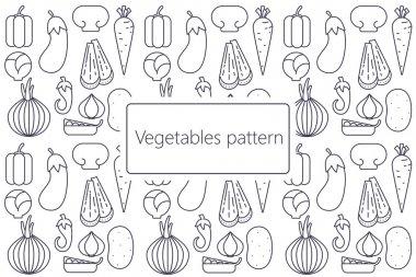 Cartoon vegetables pattern  flat vector dark