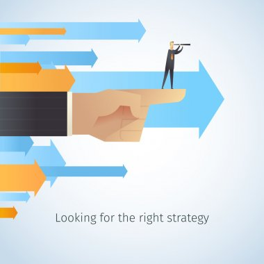 Businessman shaking hands with arrows.businessman looking for the right strategy