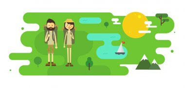 Flat cartoon couple with hiking equipment illustration