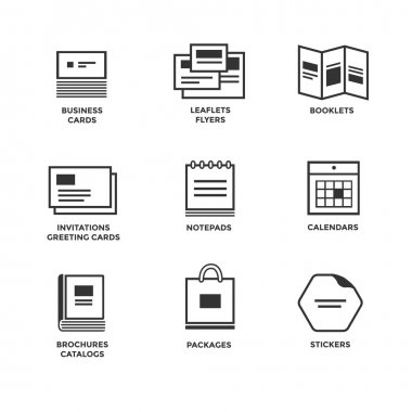 Icons of various print media.