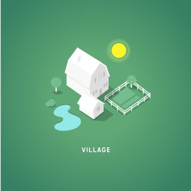 Flat isometric buildings. Village.