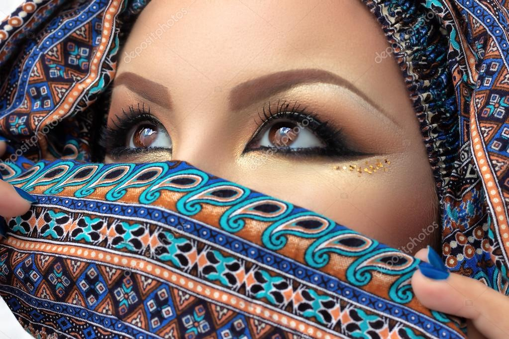 Hijab Eyes Of Beautiful Woman Arabian Makeup Veil On Her Face Intense Look Photo By Dsirik
