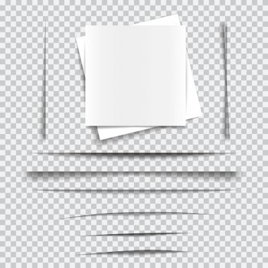 Set of transparent realistic paper shadow effects