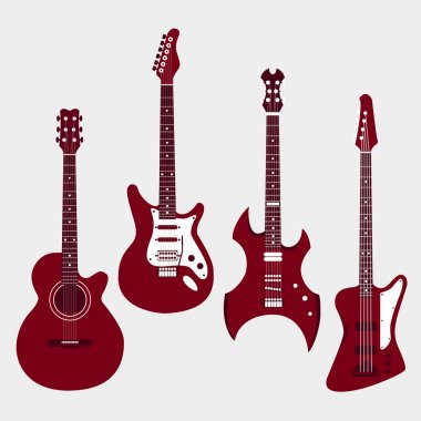 Set of different guitars. Acostic guitar, electric guitar, heavy