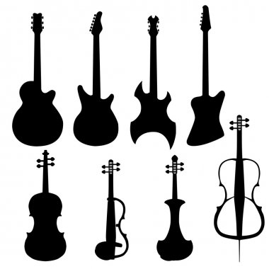 Set of string instruments. Electric cello, bass guitar, electric