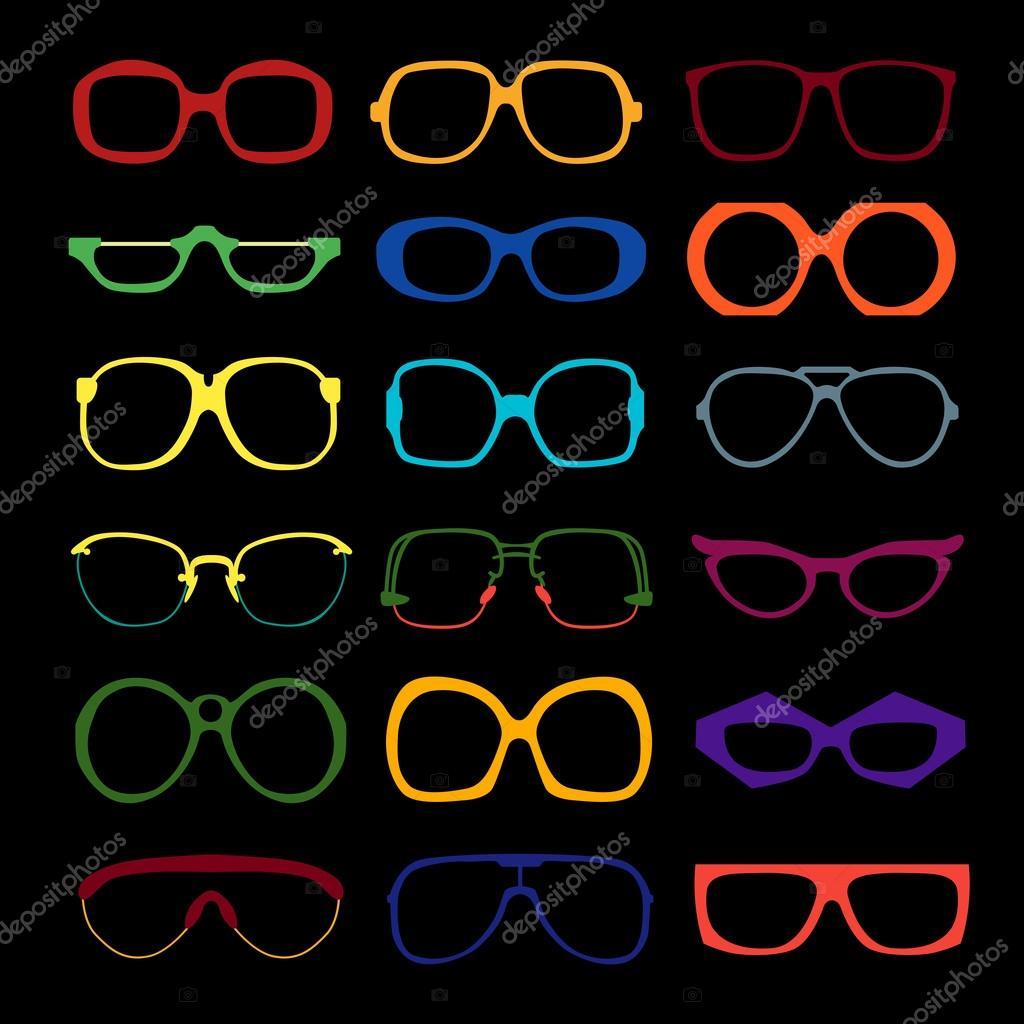 Conjunto de vector de cristales coloreados. Retro, geek, marcos ...