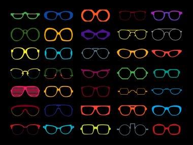 Vector set of colored glasses. Retro, geek, hipster frames.