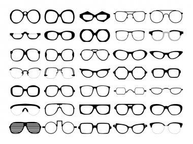 Vector set of glasses. Retro, wayfarer, geek, hipster frames.
