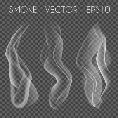 Vector set of transparent realistic white grey smoke