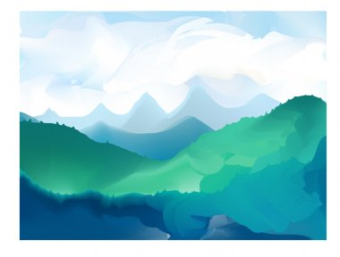 Panorama vector illustration of mountain ridges
