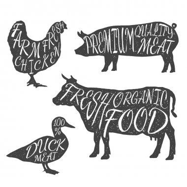 Farm animals icon set. Chicken, cow, duck, pig