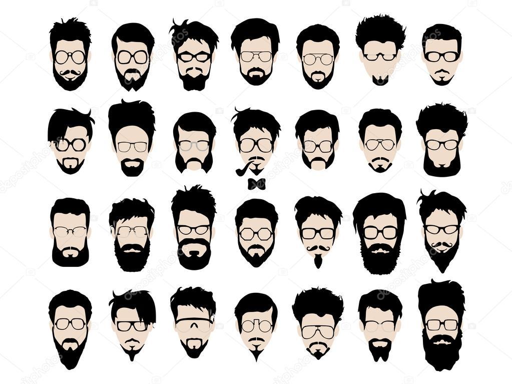 Jeu De Moustache Barbe Lunettes Coupe De Cheveux Style Hipster Vectorielles Image