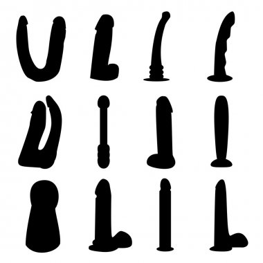 Dildo silhouettes vector set