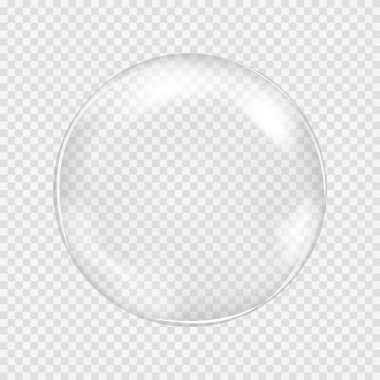 Big white transparent glass sphere with glares and highlights. White pearl. Vector illustration, contains transparencies, gradients and effects clip art vector