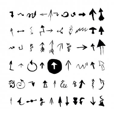 Arrows set. Vector hand drawn with ink in brush stroke style arrows elements for your design