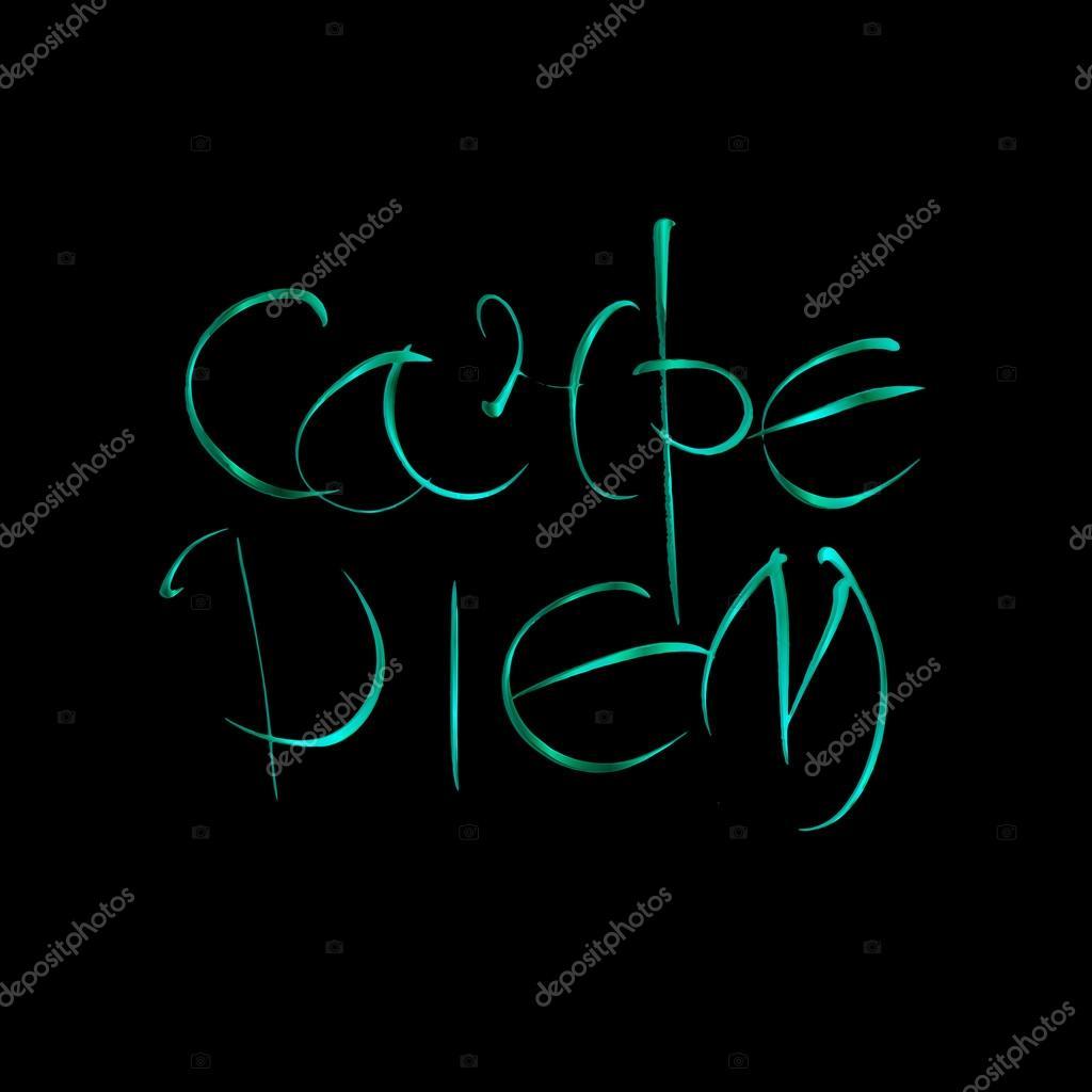 c562aedc39f5 Carpe diem. Λατινική φράση μετάφραση Αδράξτε τη στιγμή. Τυπογραφικές  χειρόγραφη αφίσα εκτύπωση. Εικονογράφηση διανυσματικά καλλιγραφικά γράμματα.