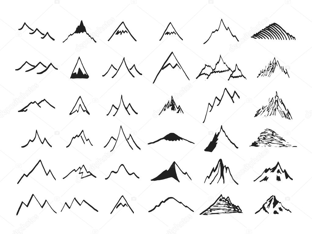 Stock Illustration Mountain Icons Set Hand Drawn on Snow 1 3 Inches