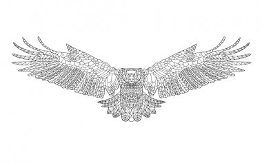 Zentangle stylized eagle. Sketch for coloring page, tattoo or t-shirt.