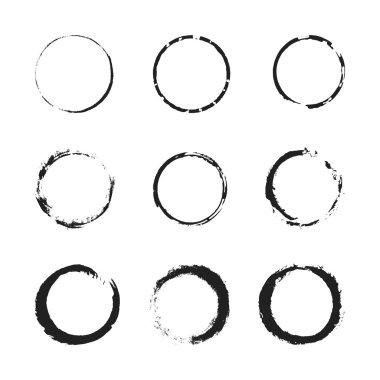 Grunge circle border set
