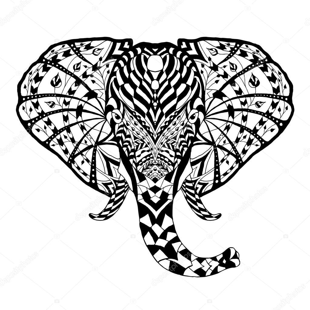 Elefante. Ilustración de vector con motivos étnicos. Africano, indio ...