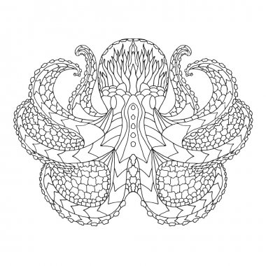 Octopus. Ethnic patterned vector illustration. African, indian, totem, tribal, zentangle design