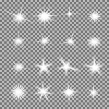 Vector set of glowing light bursts with sparkles on transparent background. Transparent gradient stars, lightning flare. Magic, bright, natural effects. Abstract texture for your design and business stock vector