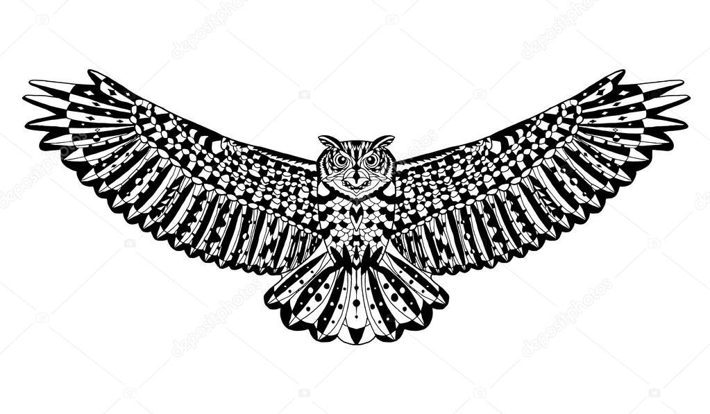 Aguila volando dibujo tribal   Buho de águila pájaro. Animales ...