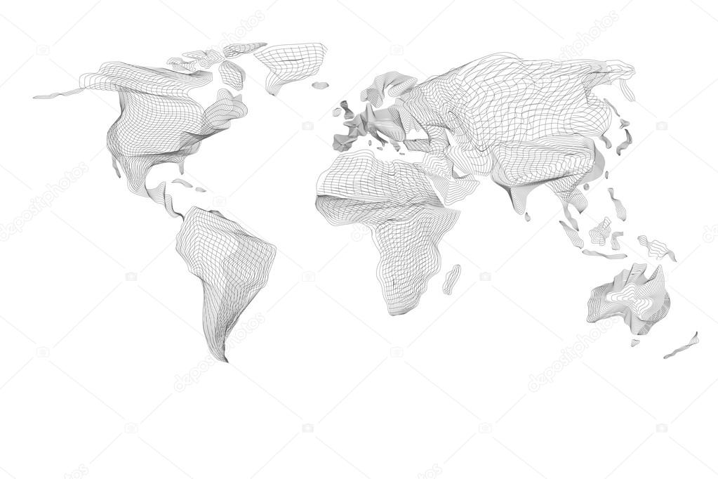 World map abstract vintage computer graphic of black lines vector world map abstract vintage computer graphic of black hologram lines polygonal card global geography connect continent and planet gumiabroncs Images