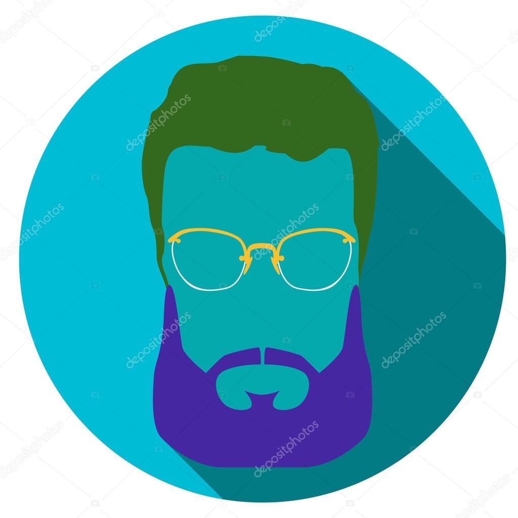 bc3da1f193c Flat style avatar icon. Colorful vector illustration eps 8. Geek