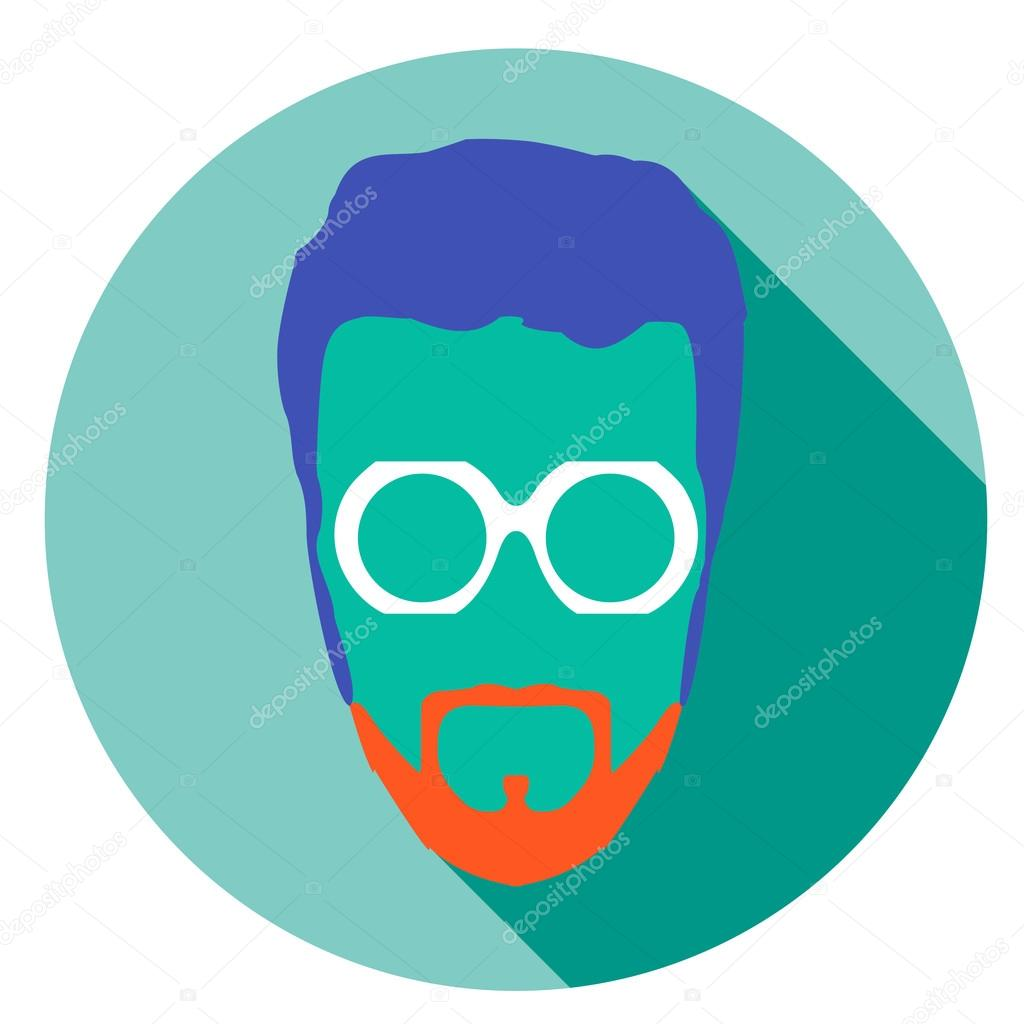 bde80a67eb Flat style avatar icon. Colorful vector illustration eps 8. Geek