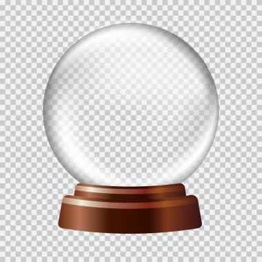 Snow globe. Big white transparent glass sphere on a stand with glares and highlights