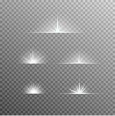 Vektorové sada zářící světlo výboje s leskne na průhledné pozadí